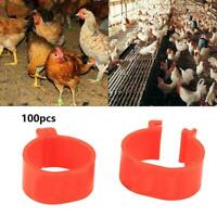 100X 16mm Colour Clip On Leg Band Rings For Chickens, Ducks, Hens, Poultry New