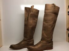 WOMENS UNBRANDED RIDING LEATHER METALLIC BROWN BOOTS SIZE 8