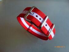 Uhrenarmband Nylon 20 mm rot weiß rot  NATOBAND Dornschließe Textil