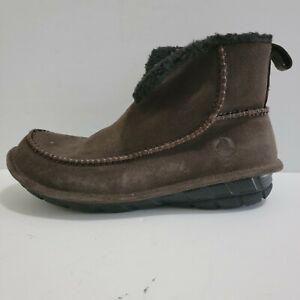 Crocs Men's Crocassin Boot Espresso Boot 11125 Suede Faux Fur Men's Size 10