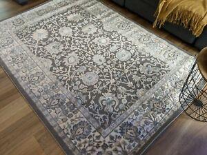 transitional Design, heavy Turkish Made, grey blue Floor Rug, 160 x 230cm