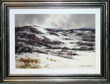 Large Original W/C by Joseph L.C. Santoro N.A. - Hunters in a Wintry Landscape