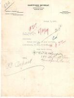 1929 HARTFORD RETREAT { FOUNDED 1822 } HARTFORD CONN LETTERHEAD