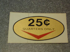 Original Skee Ball 25 Cent Decal (Sticker) Skeeball *New*