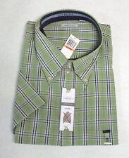 Van Heusen Short Sleeve Button No Iron Plaid Shirt 3XL/3XG Green Red Or Tan