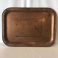 Vintage Copper Rectangular Serving Tray 1 Inch Deep Raised Edge Wedding Tray FAE