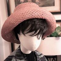 HELEN KAMINSKI New/w/Tags, Floppy Boho Raffia Hat, Adjustable, Dusty Salmon, OSF