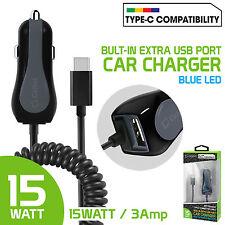 Rapid 15Watt 3 Amp Type-C USB Car Charger w/ USB Port for Samsung Galaxy S8 Plus