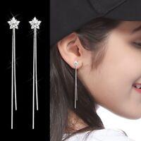 Fashion Simple Long Tassel Earrings Rhinestone Flower Earring Great