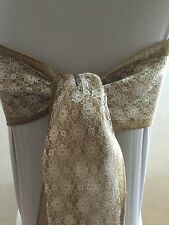 25 Hessian And Ivory Lace chair sash Hessian Overlocked In Matching Cotton