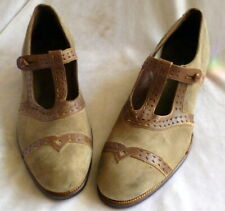 Vintage 1920s Brown Suede & Leather Shoes Heels Size 3