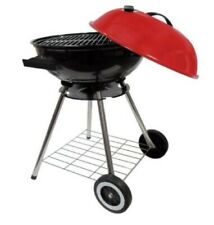 """18"""" Round Kettle Charcoal BBQ - 18 Inch Barbecue Grill With Red Lid New"""