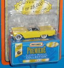 1997 MATCHBOX Premiere '57 Ford Thunderbird T-Bird Yellow  Real Riders 1957