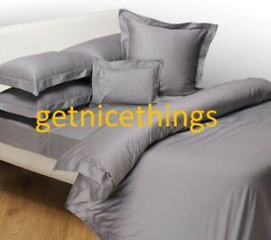 $345 Yves Delorme Triomphe Platinum Platine Gray King Flat Sheet Cotton Sateen