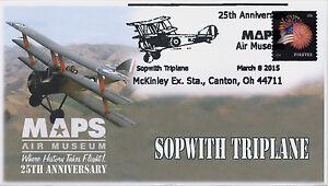 2015, MAPS Air Museum, 25th Anniv, Sopwith Triplane, Pictorial Postmark, 15-032