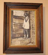 1980 Andrew Turner Oil Painting Philadelphia Black Art Americana Shy School Girl