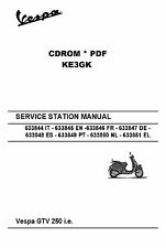 Vespa GTV 250 ie Service Station Manual * Parts Manual * Schematic * CDROM * PDF