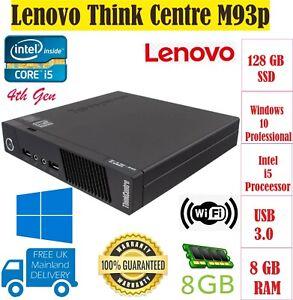 Lenovo ThinkCentre M93p Intel Core i5 4th Gen PC Wi-Fi Win10 Pro Micro PC