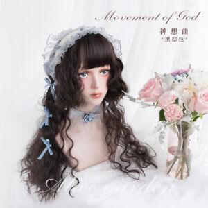 Harajuku Lolita Sweet Black-Brown Wig Cosplay Daily Long Curly Hair Hairpiece