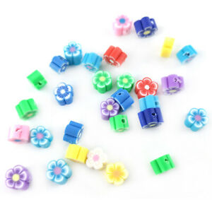 Mixed-Colour Polymer Clay Beads Flower 4 x 6mm Pack Of 30