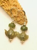 NATURAL JADE GEMSTONE DROP DANGLE HOOK EARRINGS STERLING SILVER 92.5 TEAPOTS
