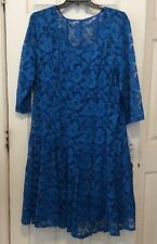 $108 Leslie Fay NWT Pacific Blue LACE DRESS Women's Plus Size 24W 3/4 Sleeves