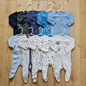 Baby Boy SLEEPSUIT BUNDLE (10pcs) 0-3 months Next, M&S etc Babygrows *Free P&P*
