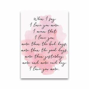 Love You More Pink Watercolour Modern Print