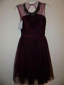 BNWT Stunning Deep Magenta/Purple Skater Party Dress Size Uk 10