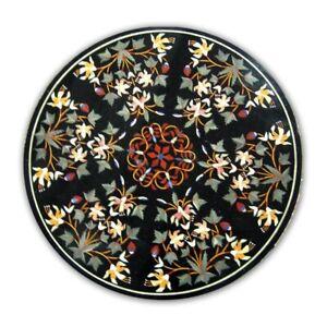 Black Marble Dining Table top Precious Mosaic Floral Inlay Art Handmade Dec B436