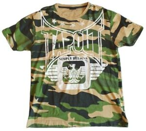tap out mens camo crew neck t shirt sports mma training fitness green size m