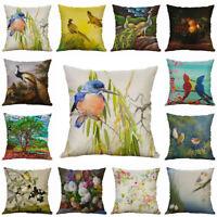 Retro Pillow Linen 18'' Throw Cushion Waist Cover Decor flower Sofa Home Case