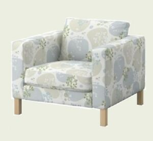 IKEA Karlstad Armchair Gronvik NEW Grönvik Chair Cover Gray Floral Taupe Green