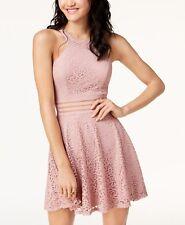 NWT City Studios junior Illusion-Waist Scuba Fit Flare Dress MAUVE lace pink 3