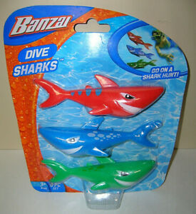 Banzai Swimming Pool Diving Toys Sharks, Pool Bathtub Toy 3 in a Pack, Ages 3+