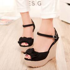 Women's Ankle Buckle Wedges High Heels Platform Sandals Bowknot Peep Toe Shoes