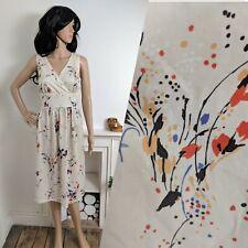 Vintage 70s 80s Abstract Paint Splash Floral Wrap Sun Dress 10 38