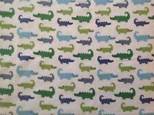 ~ FLANNEL ~ Crocodiles ~ Alligator ~ Quilting ~ Fabric ~ Boys ~ Flannelette~FQ~