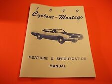 MERCURY CYCLONE MONTEGO 1970  SPECIFICATION 48 PAGE OLD CAR MANUAL