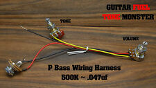 TONE MONSTER P Precision Bass Guitar Wiring Harness Volume Tone 500K .047uf MIK