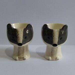 Novelty Egg Cups - 3D Badger Ceramic Egg Cups x 2