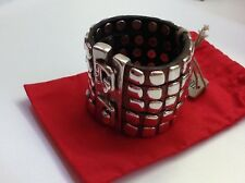 """NWT Uno de 50 Leather Bracelet w/ Silvertone Square Rivets """"Being Tainted"""""""