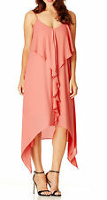 STUNNING RUFFLE FRONT LADIES DRESS- LOVELY CORAL COLOUR Size 14 (Free Post)