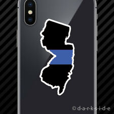 (2x) New Jersey State Shaped The Thin Blue Line Cell Phone Sticker police NJ
