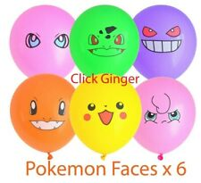 Pokemon Go Face Latex Balloons x 6 Pikachu Charmander Bulbasaur Jigglepuff