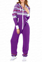 New Ladies Aztec Print Hooded Zip Up Onsie All In One Jumpsuit [SMALL to 5XL]