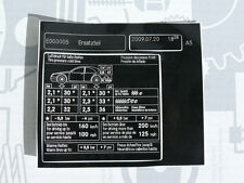 Original Mercedes Aufkleber REIFENDRUCK / Tankklappe W126 560SE 560SEL NEU!