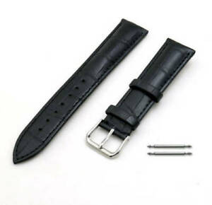 *BRAND NEW* Black Elegant Croco Genuine Leather Replacement Watch Band Strap
