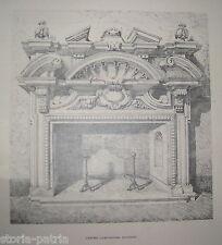 ARCHITETTURA DEL '600_ARTI DECORATIVE_SCULTURA_ANTICO CAMINO CON ALARI_STAMPA