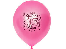 "25 pcs Mis Quince 15 Anos PINK 12"" Metallic Latex Balloons Quinceanera Birthday"